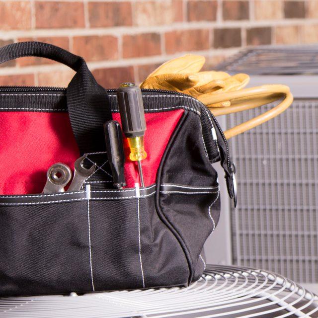 Bag of repairman's work tools