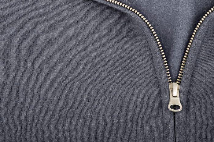 close up of a hoodie zipper