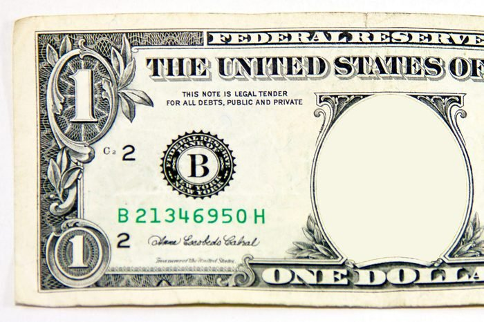 one dollar bill. no face.