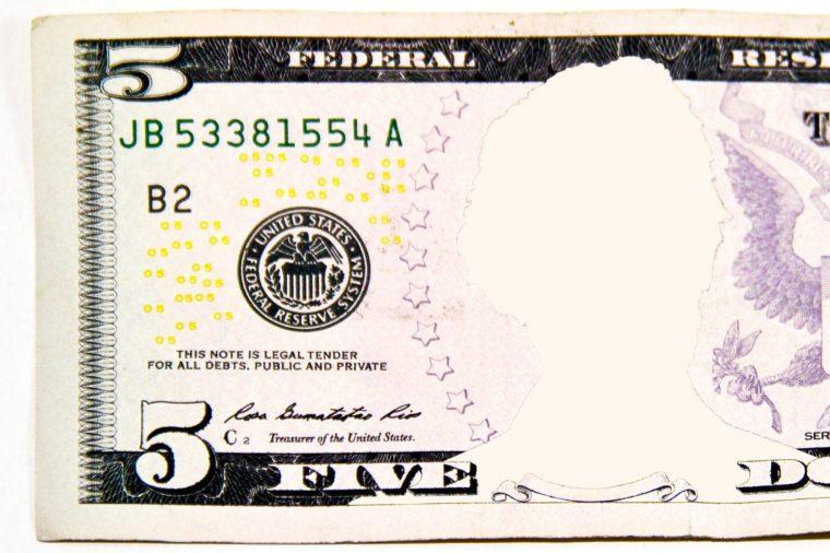 five dollar bill. no face.
