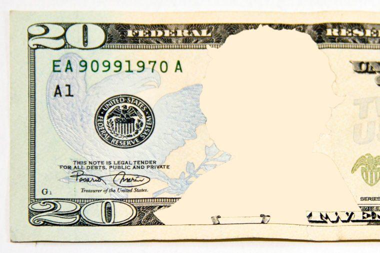 twenty dollar bill. no face.