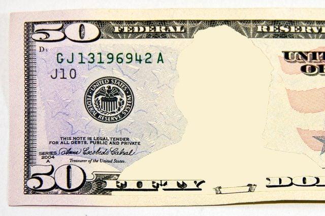 fifty dollar bill. no face.