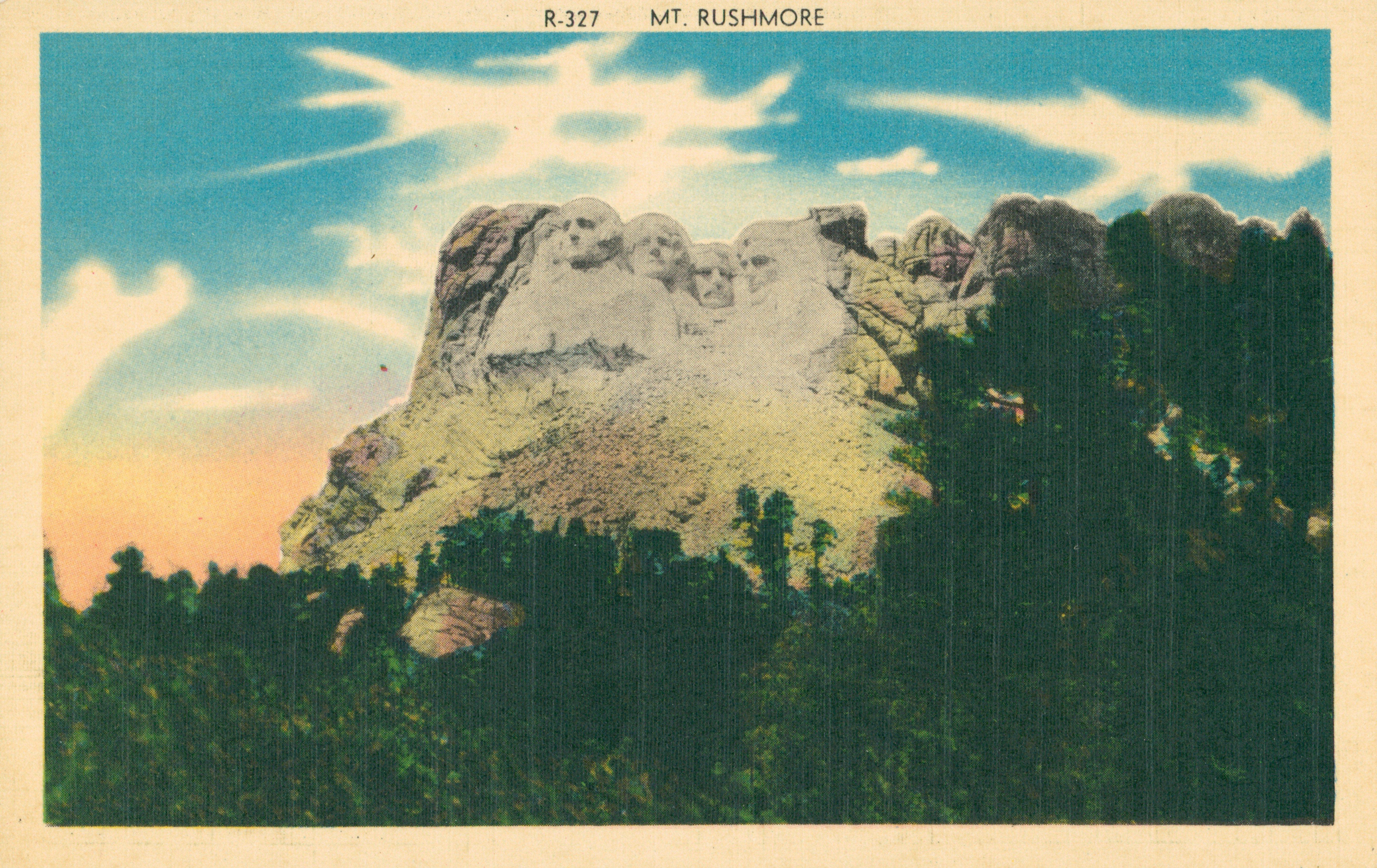 Mount Rushmore monument south dakota vintage post card