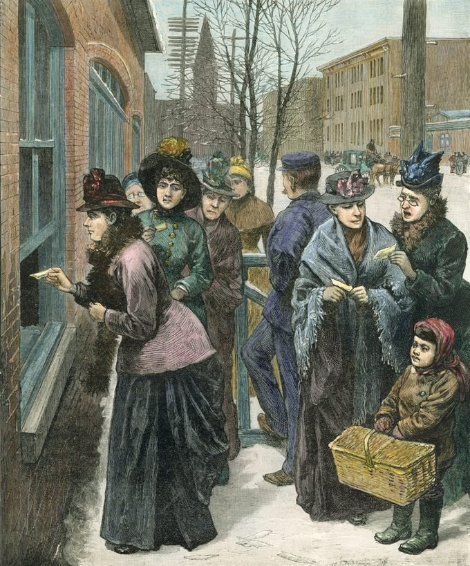 Titled 'Scene at the polls in Cheyenne,' this colorized engraving shows a group of women as they line up on the sidewalk to cast their ballots through an open window, Cheyenne, Wyoming Territory, 1888. A man dressed in a blue cap stands amongst them while a child carrying a basket stands at right.