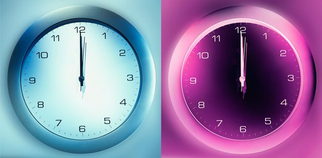 blue toned clock image and pink toned clock negative image