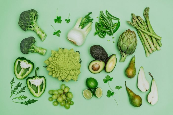 green vegetables on a green background