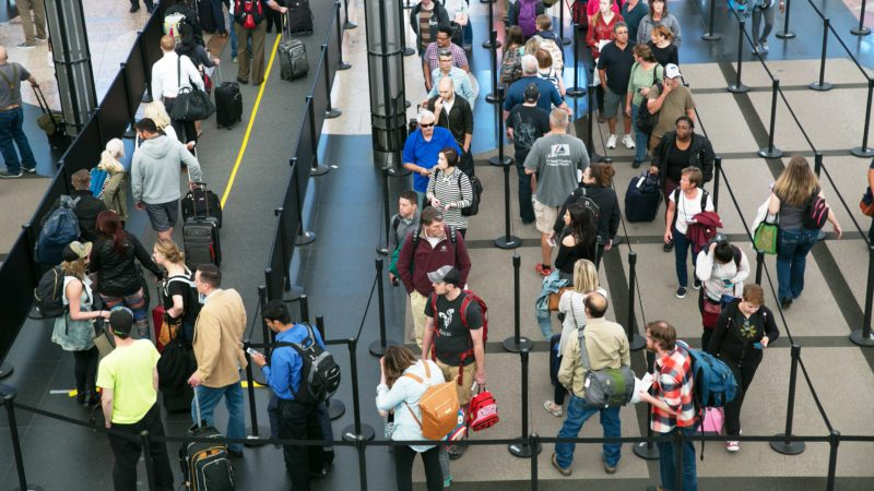 TSA security lines in the main terminal are crowded with spring break travelers on April 12, 2017, in Denver, Colorado.