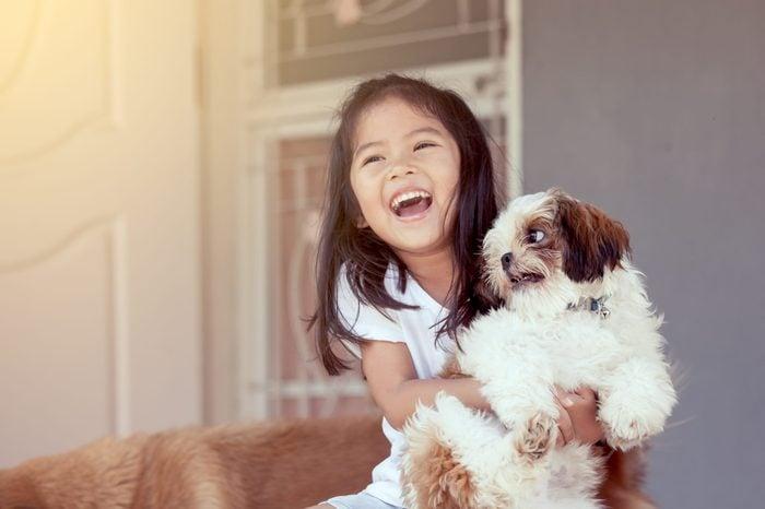 Cute asian little girl with her Shih Tzu dog lap dog
