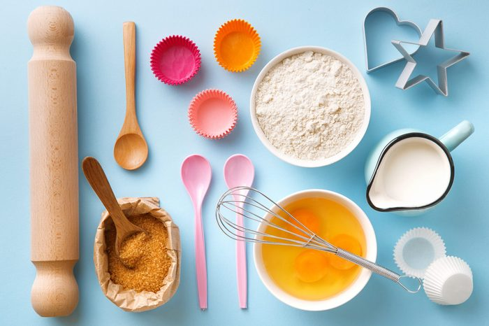 baking supplies on a blue background