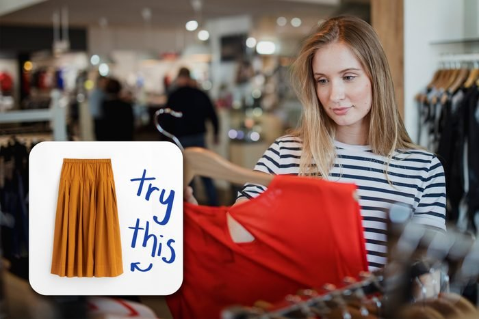 woman looking at clothes in a store, with inset of a skirt to buy