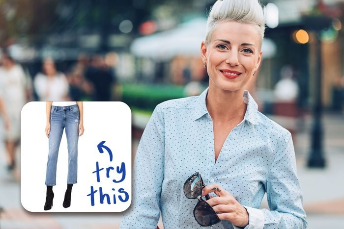 smiling woman with inset of jeans to buy