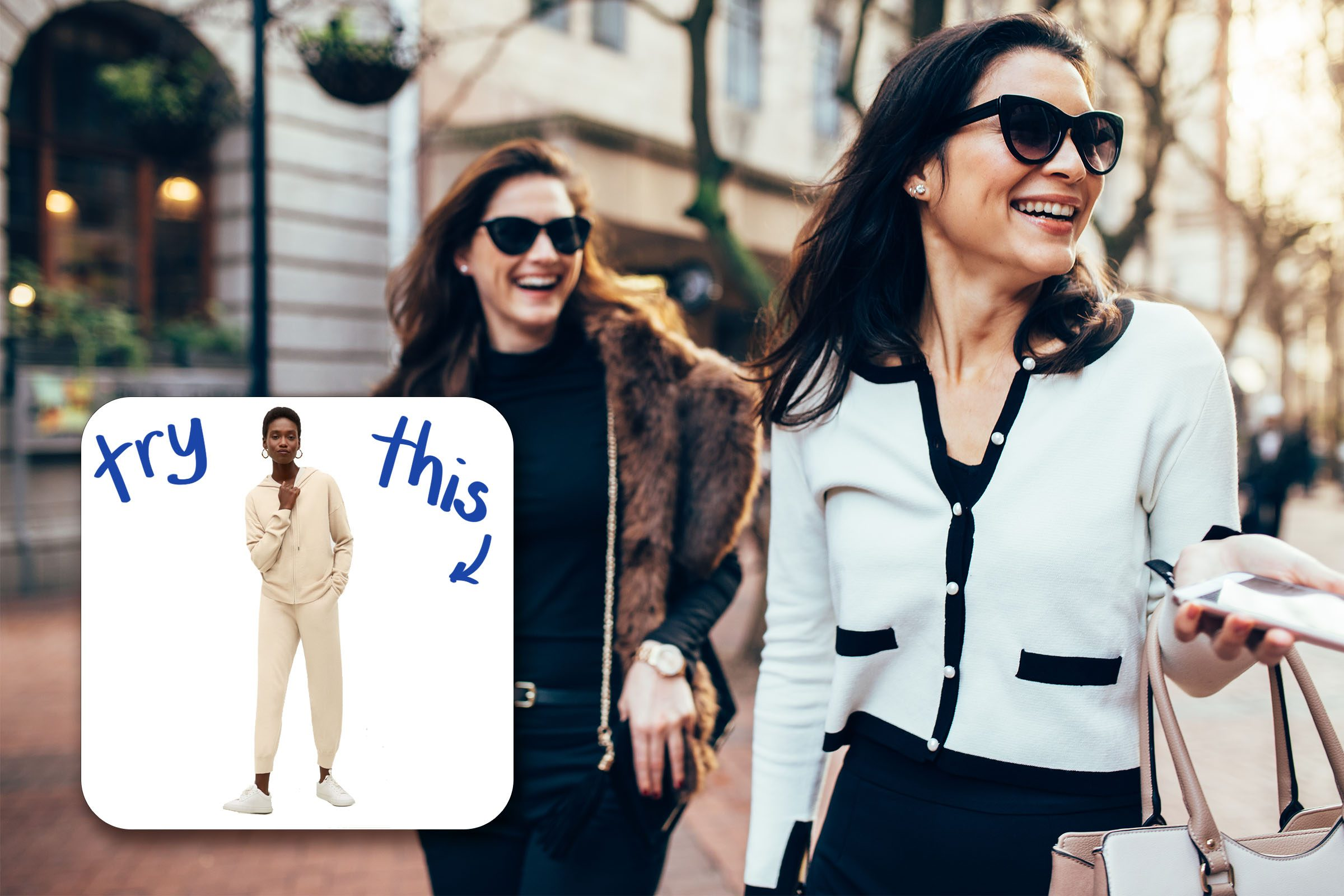 Two Women On City laughing with inset of sweat suit to buy