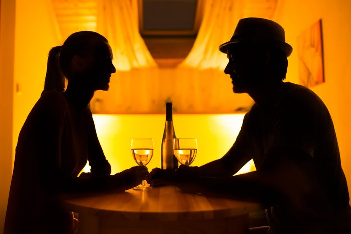 silhouette couple on a date