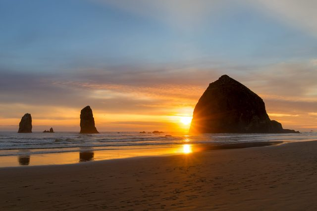 Haystack Rock and the Needles at Cannon Beach on the Oregon Coast most romantic towns