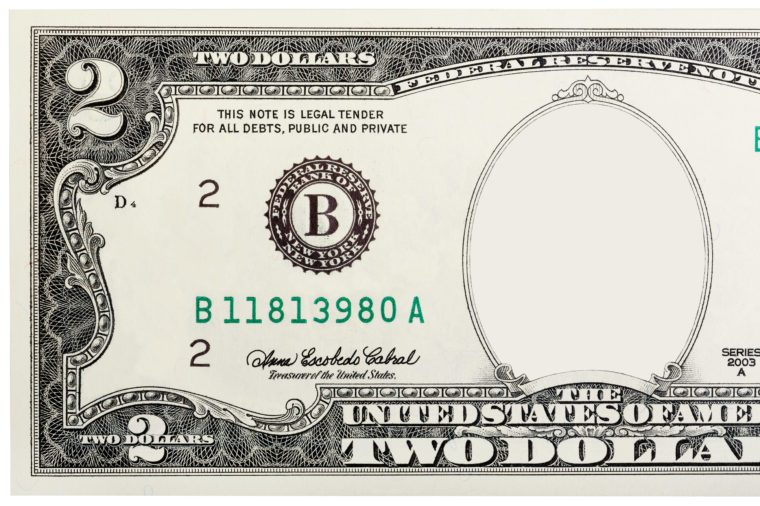 two dollar bill. no face.