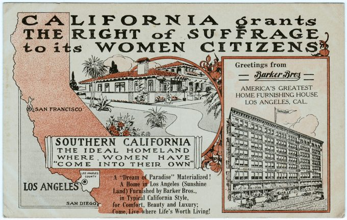 Red, black, and white, postcard, published by the Barker Brothers Home Furnishing Company, celebrating Californian Women gaining full voting rights in 1911, in an attempt to gain additional patrons, published for the American market, 1911.