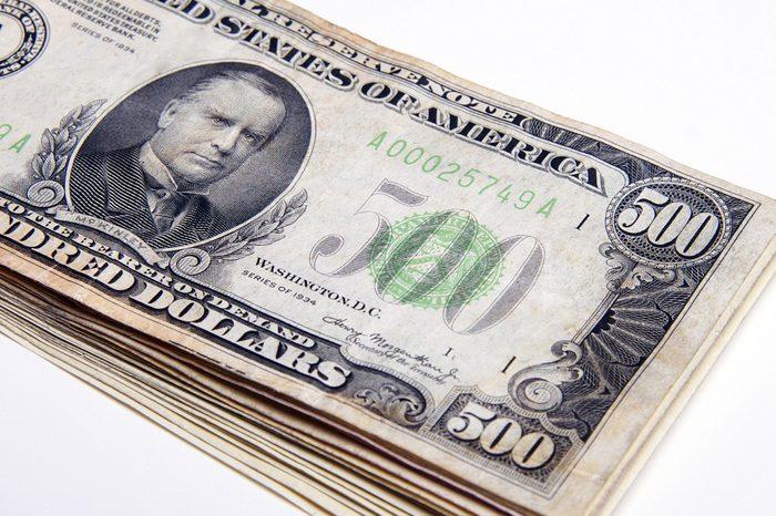 five hundred dollar bills stack