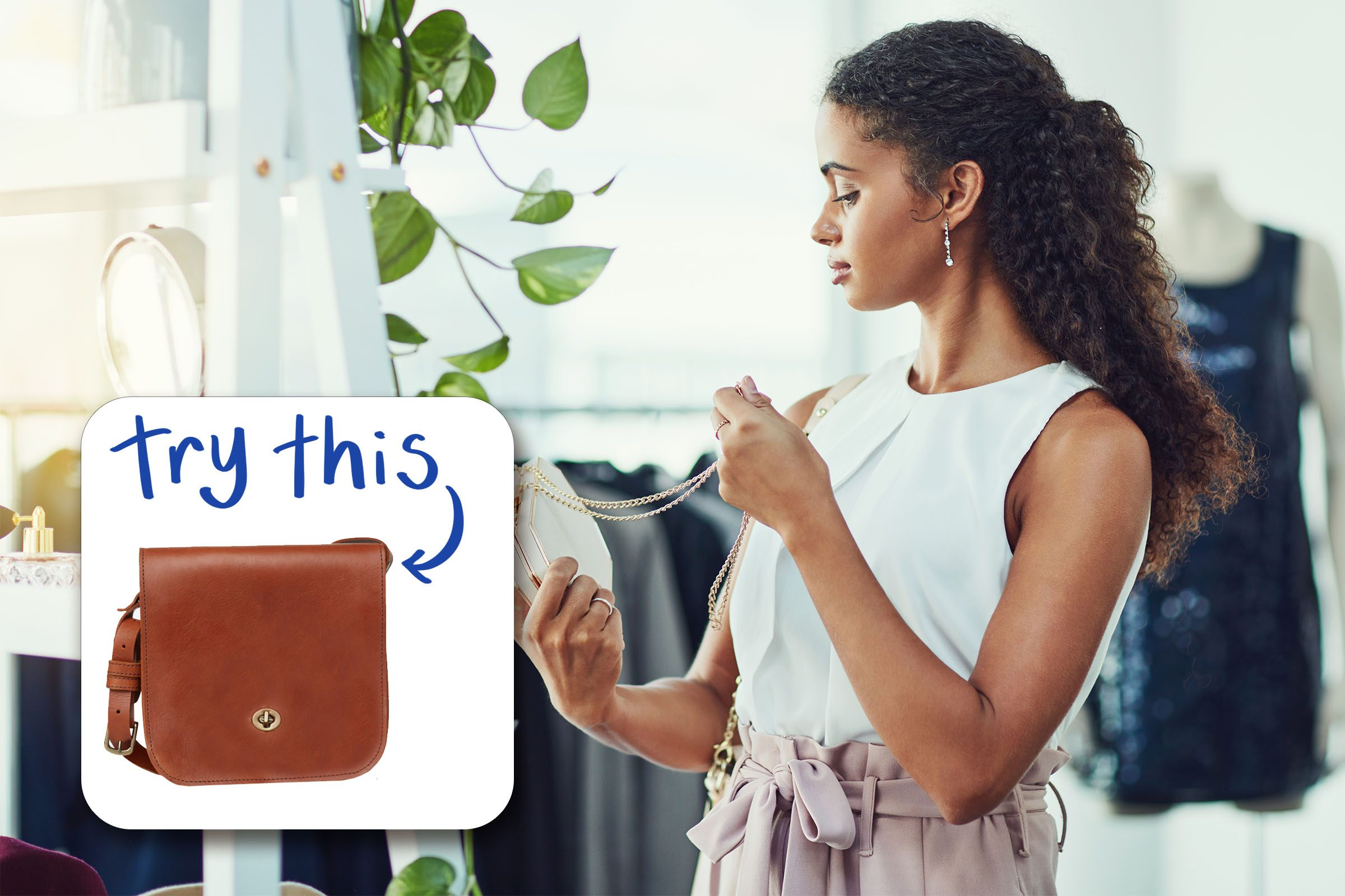 woman looking at jewelry with inset of purse to buy