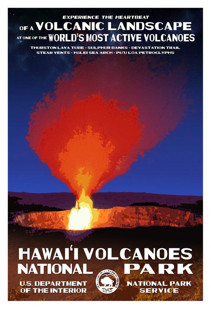 hawaii volacanoes national park postcard