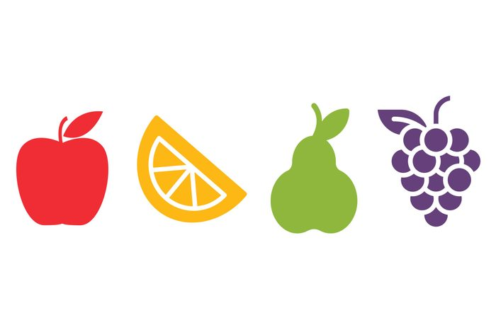 apple, orange wedge, pear, grapes. not hints to the answers.