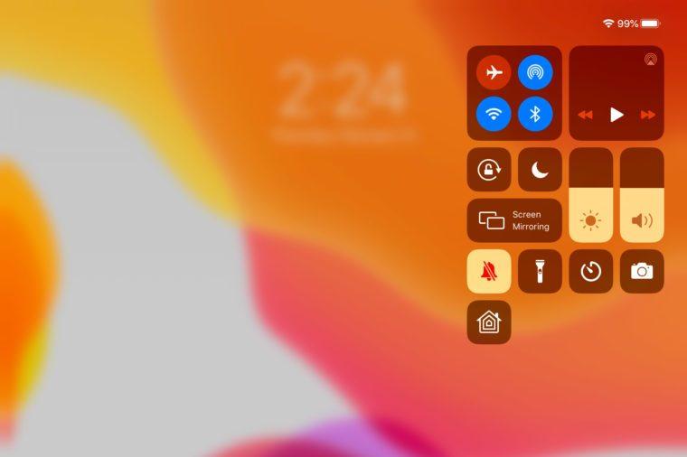 ipad screenshot showing the control panel