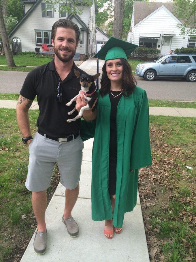 Summer Hutchinson graduation MSU with koko dog saved relationship