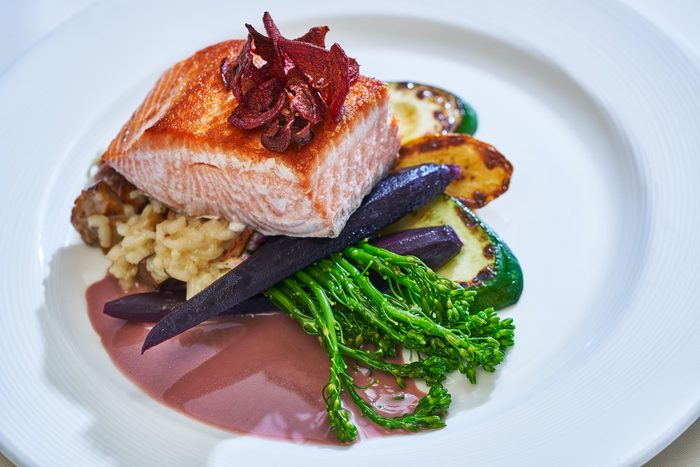 Salmon dinner at The Stephanie Inn, Cannon Beach Oregon
