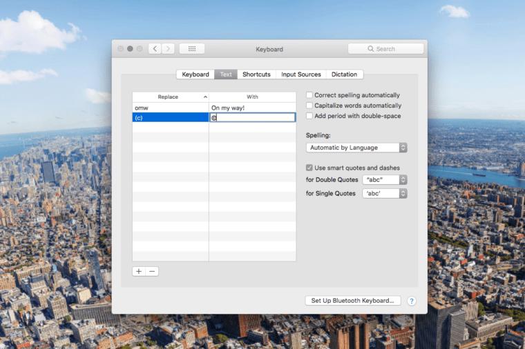 mac laptop tricks text replacement