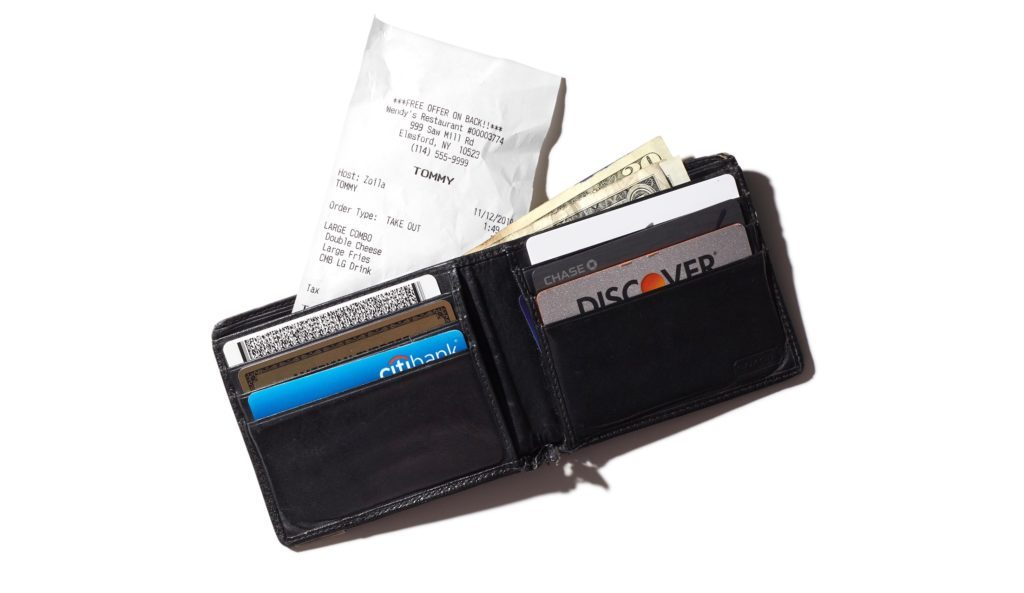 wallet with receipt sticking out