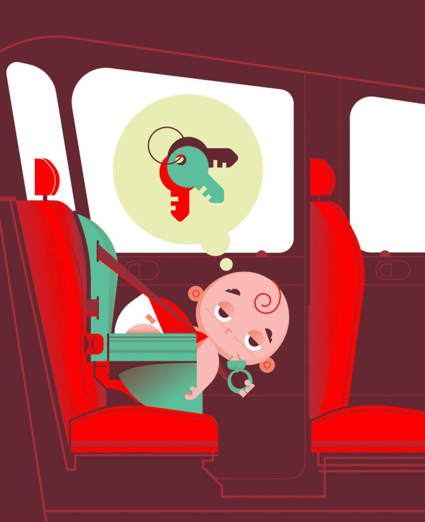 baby in the car thinking about his keys illustration by martin laksman