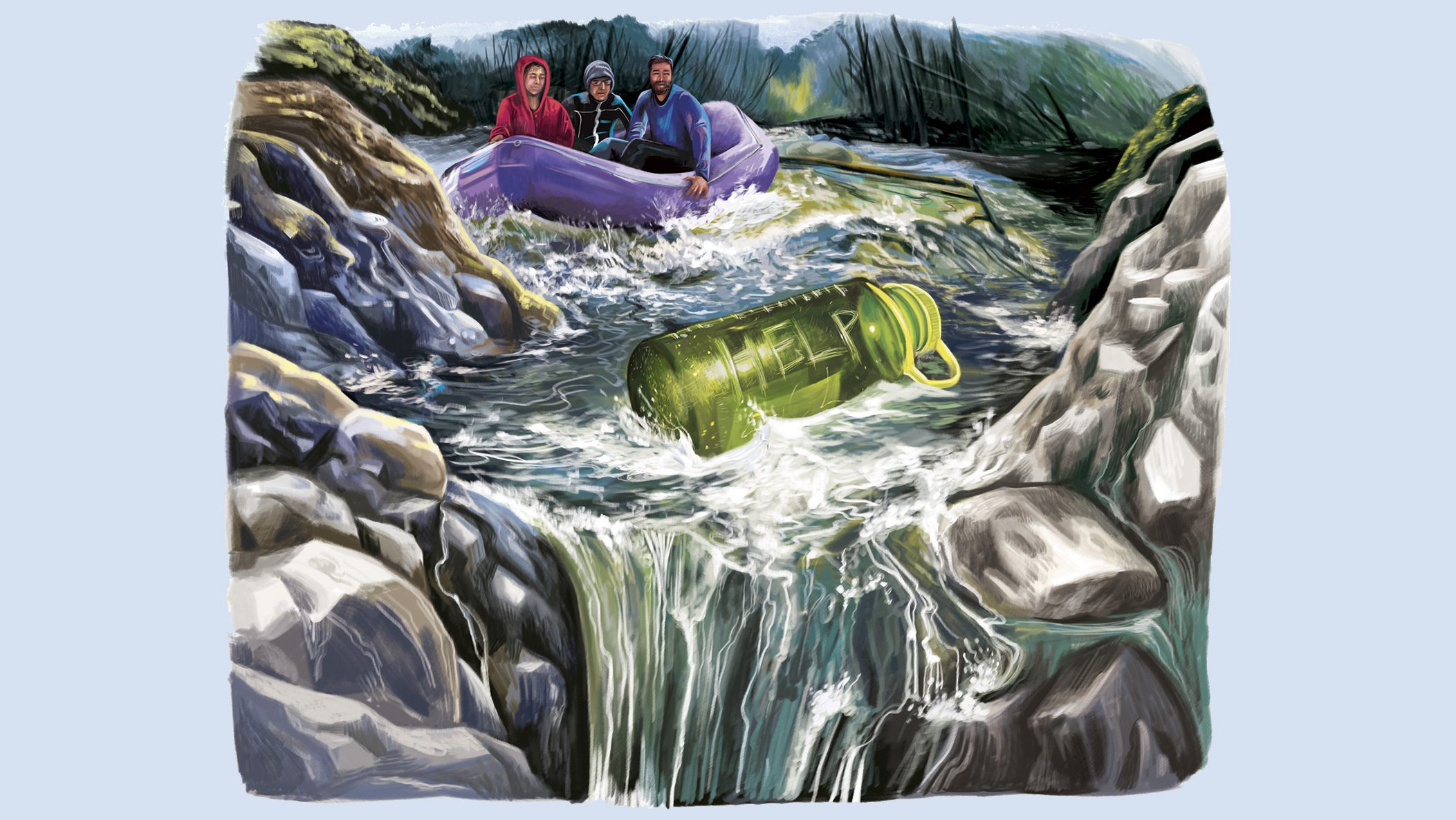 people in a raft nearing a waterfall illustration by gel jamlang