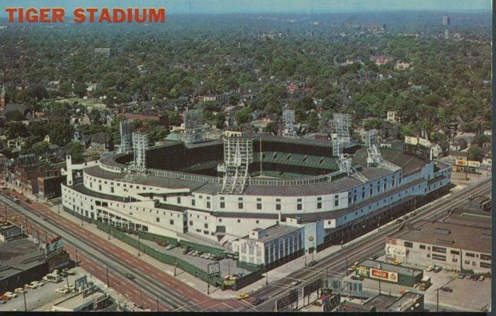 tiger stadium michigan vintage post card