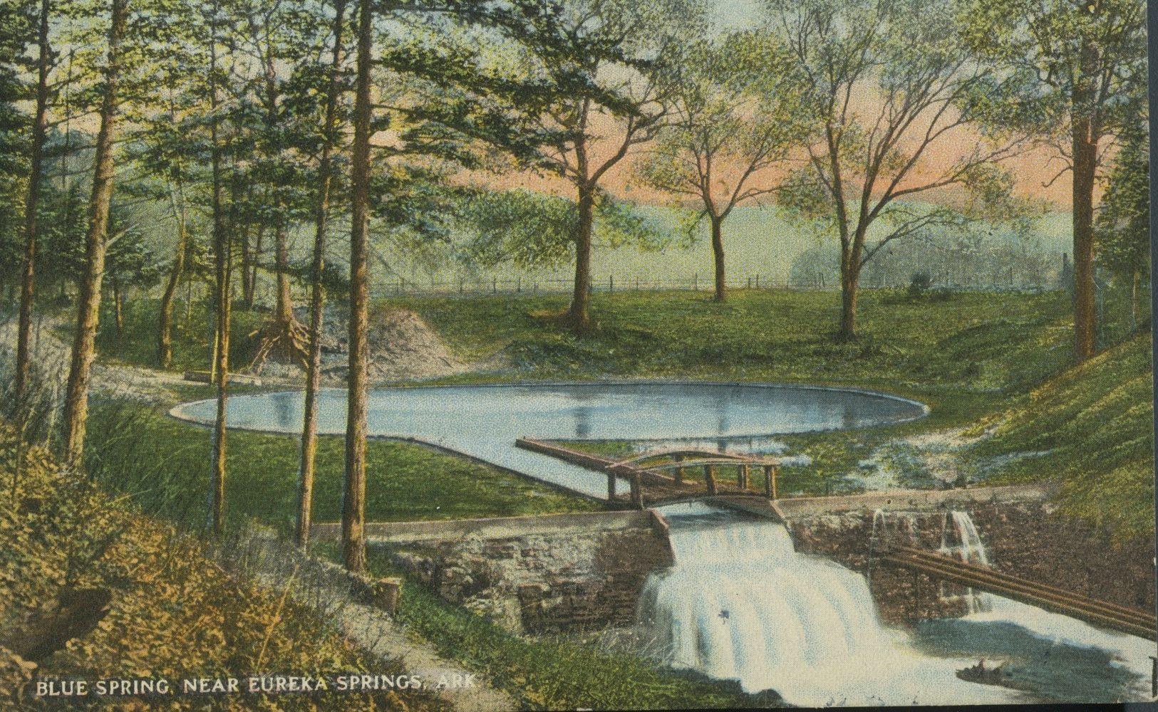 arkansas blue spring eureka springs vintage postcard