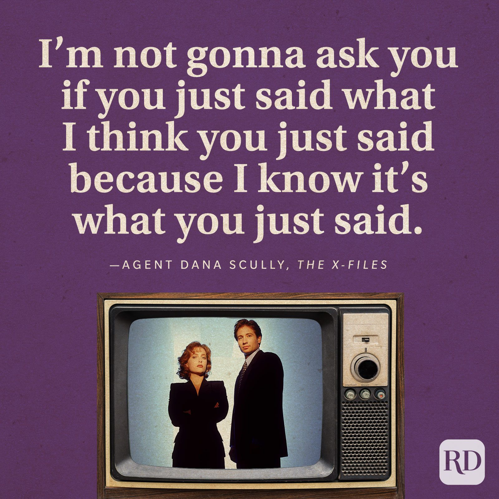 """""""I'm not gonna ask you if you just said what I think you just said because I know it's what you just said."""" -Agent Dana Scully in The X-Files."""
