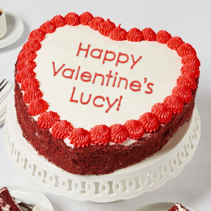 For the far-off loved one: Bake Me A Wish! Personalized 10-inch Heart-Shaped Red Velvet Cake