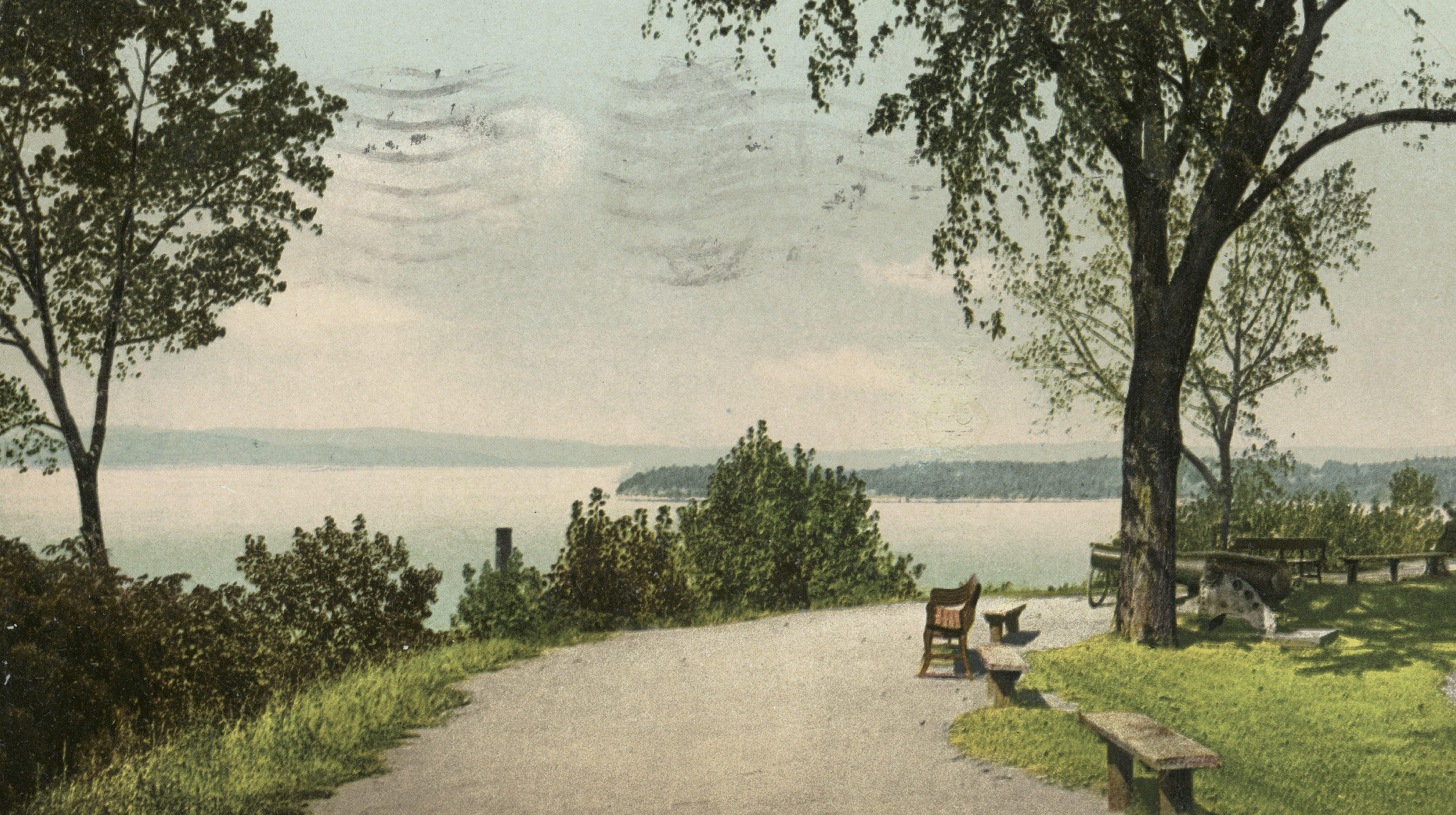 battery park vermont burlington vintage post card