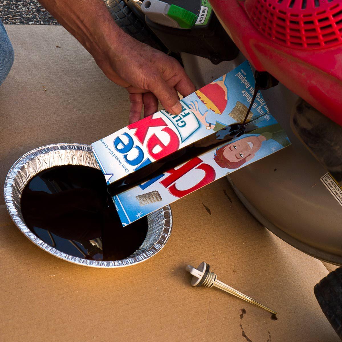 cereal box oil funnel