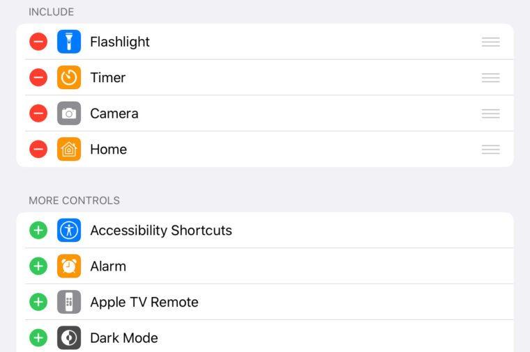 ipad screenshot. customize control center options.