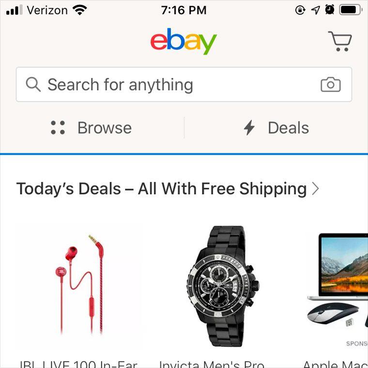 ebay app homepage screenshot. taken from iphone 6s.