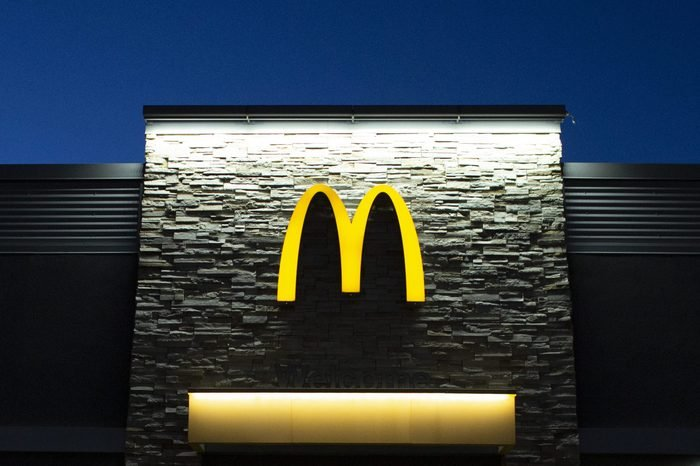 mcdonalds sign on the building at dusk