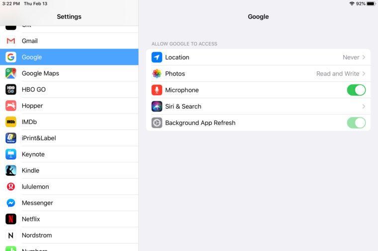 ipad screenshot app settings