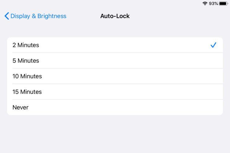 ipad screenshot auto lock settings