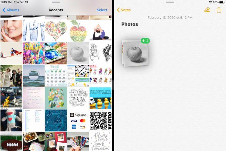 ipad screenshot drag and drop muliple items
