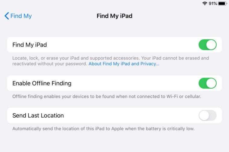 ipad screenshot Find My settings