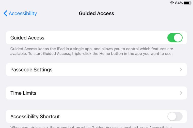 ipad screenshot guided access settings