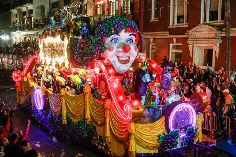 Mardis Gras float with the theme 'Children's Stories That Live Forever' masks new orleans