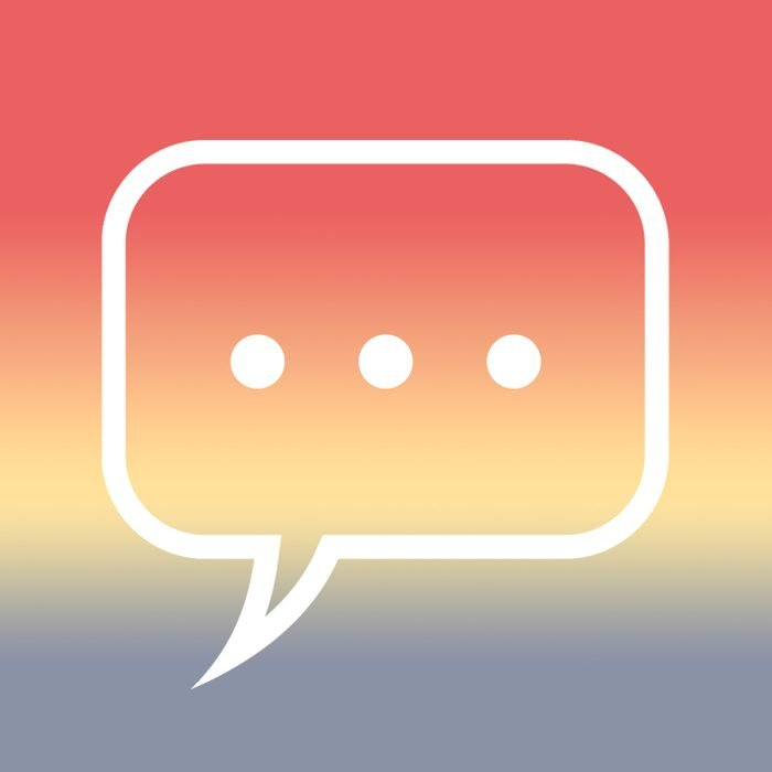 """speech bubble with """"..."""" over sunrise gradient"""