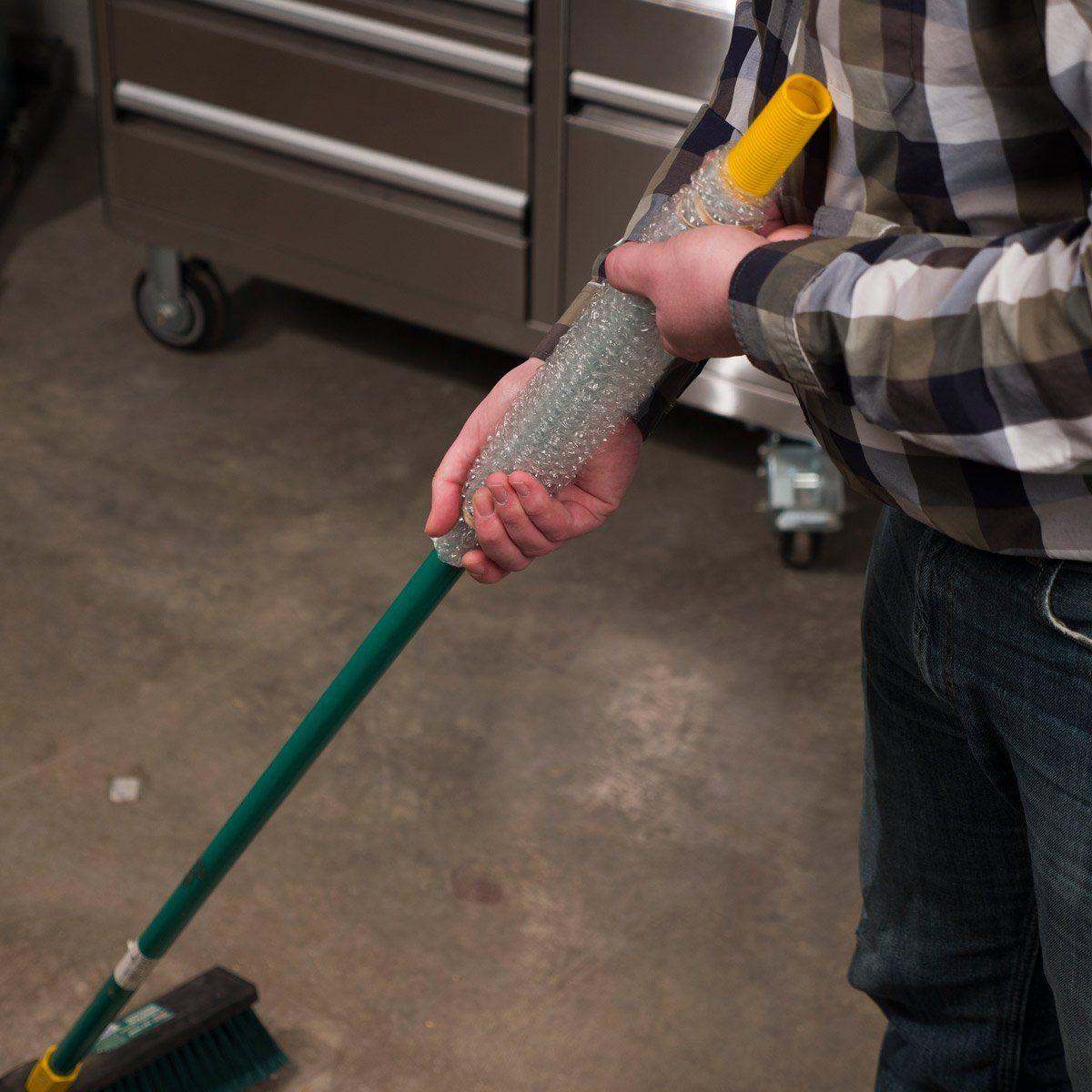 bubble wrap on broom handle