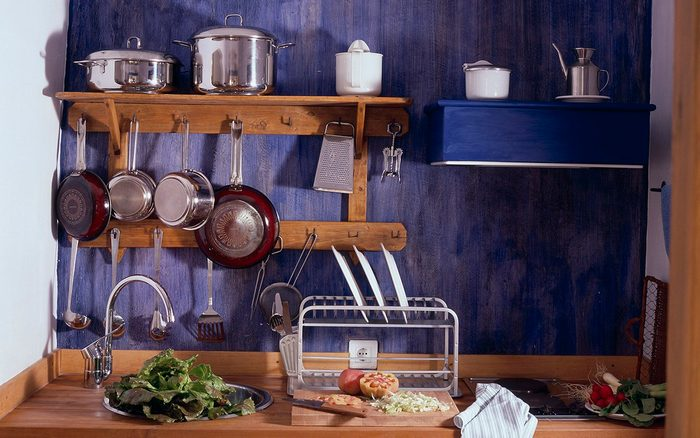 Partial view of a set kitchenette.