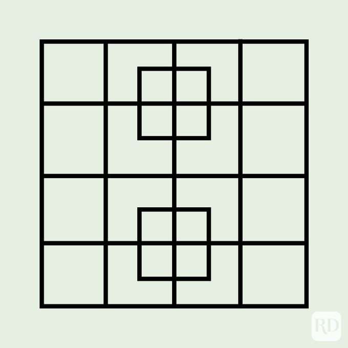 Grid square puzzle - 2 squares intersect larger 4x4 square, creating 24 subsections